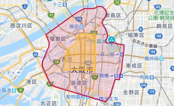 フードパンダ大阪 エリア サービスエリア